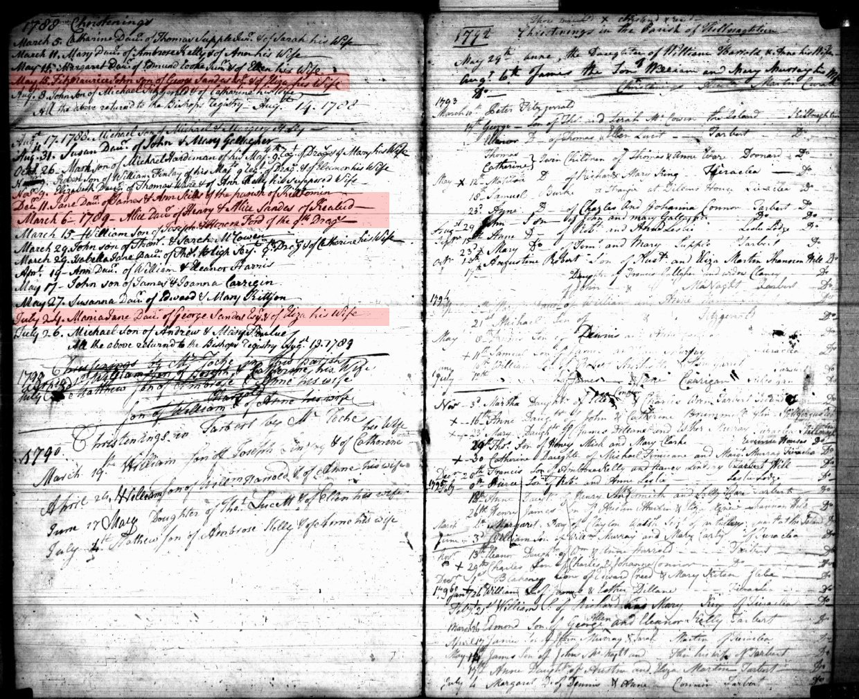 Baptism record for Fitzmaurice John Sandes, Maria Sandes and Alicia Sandes