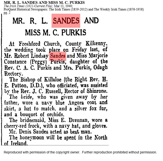 Notice of marriage, Robert R Lindsay Sandes and Majorie Constance Purkis