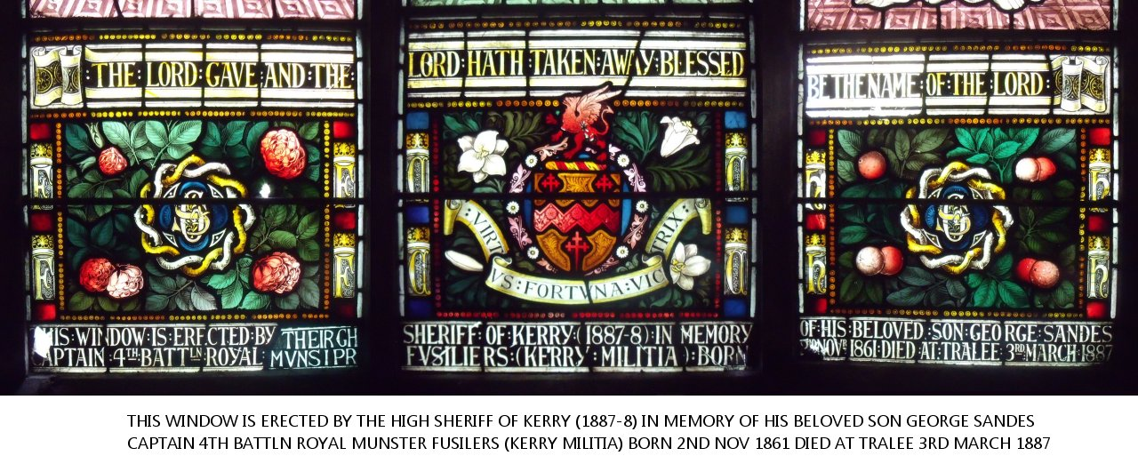 Stained Glass Windows at St John's Church, Listowel in memory of George Sandes