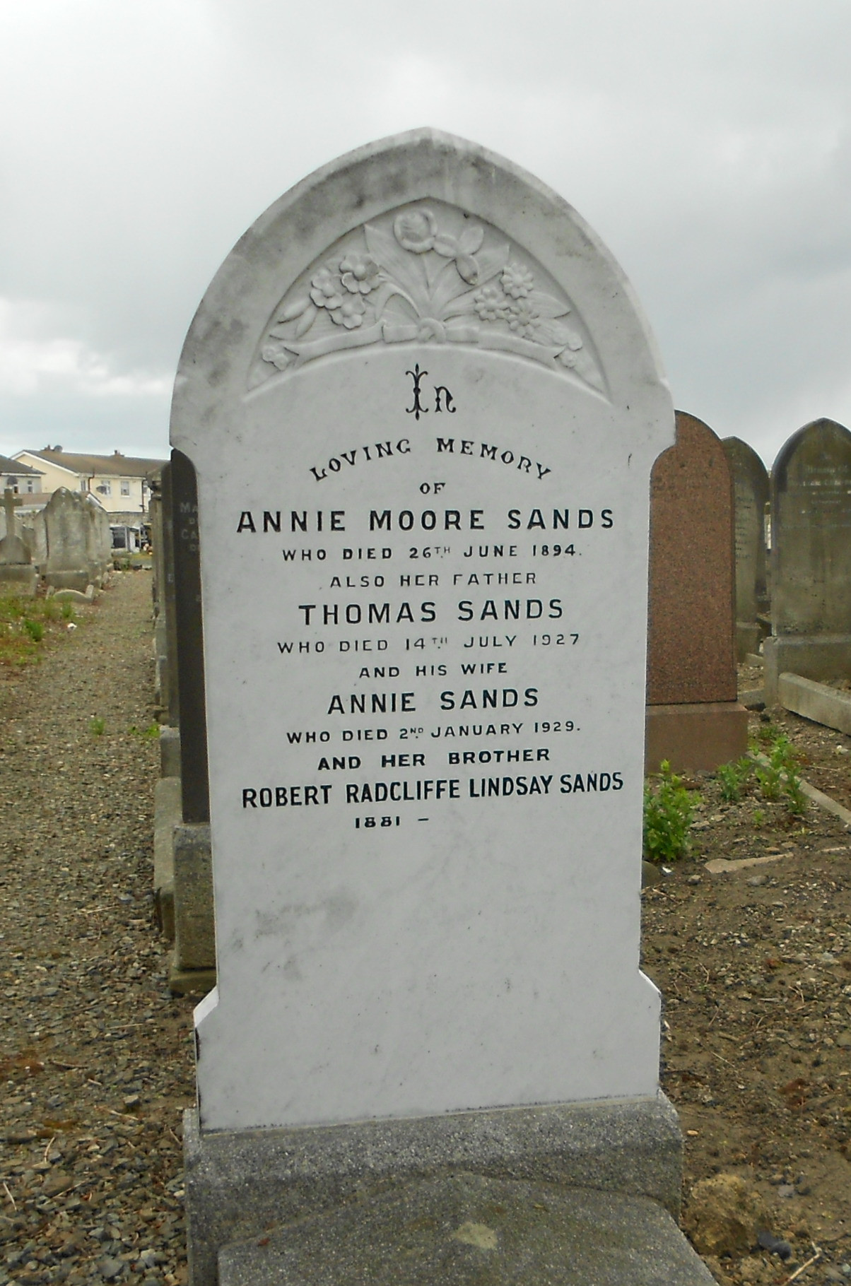 Headstone of Annie Moore Sands, Thomas Sands, Annie Sands and Robert Radcliffe Sands