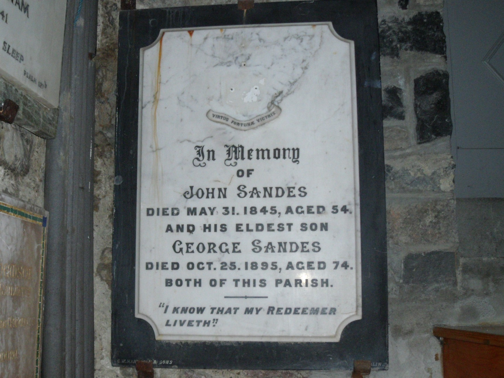 Memorial plaque dedicated to John Sandes in the St John's Church, Listowel, County Kerry